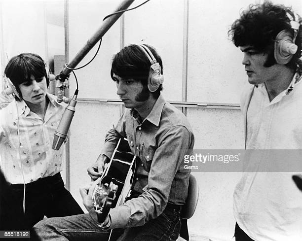 Photo of MONKEES and Davy JONES and Mike NESMITH and Mickey DOLENZ LR Davy Jones Mike Nesmith and Mickey Dolenz in a reording studio