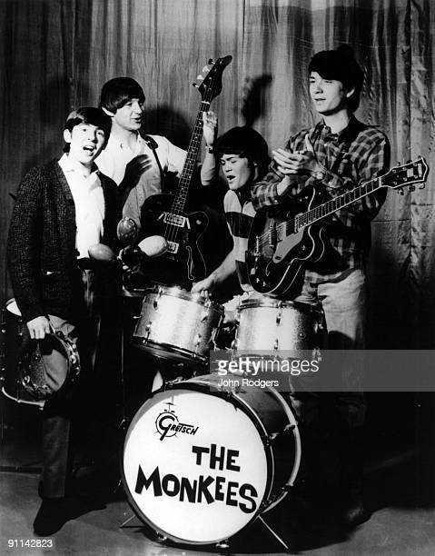 Photo of MONKEES and Davy JONES and Peter TORK and Mickey DOLENZ and Mike NESMITH; Posed group portrait L-R Davy Jones, Peter Tork, Mickey Dolenz and...