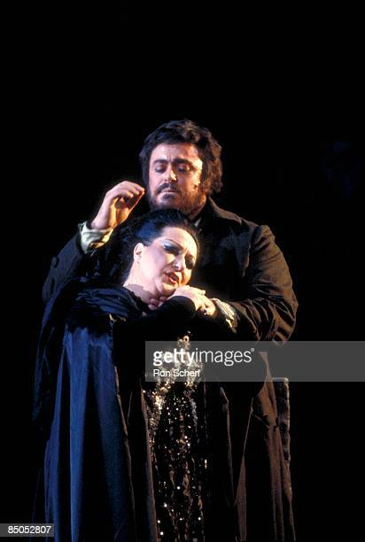 Photo of Montserrat CABALLE and Luciano PAVAROTTI and TOSCA, Luciano Pavarotti as Mario and Montserrat Caballe as Tosca
