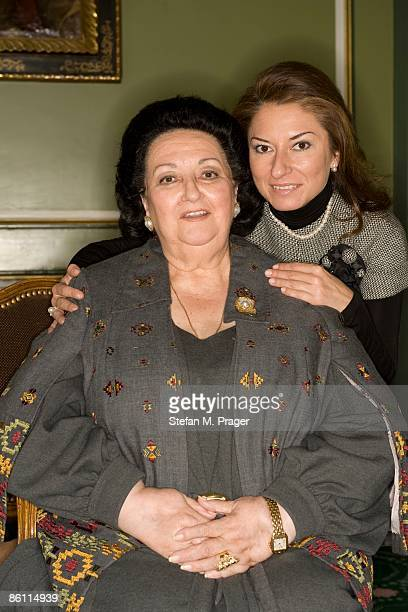 Photo of Montserrat CABALLE and Montserrat MARTI; Posed portrait of opera singer Montserrat Caballe with her daughter Montserrat Marti at the Hotel...