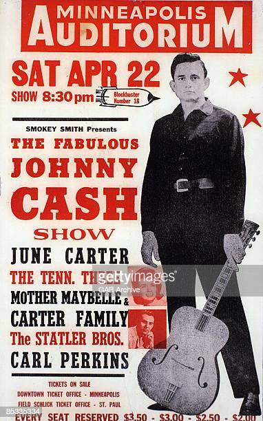 Photo of Mother Maybelle CARTER and CARTER FAMILY and June CARTER and Carl PERKINS Concert poster a concert with Johnny Cash June Carter Cash and...