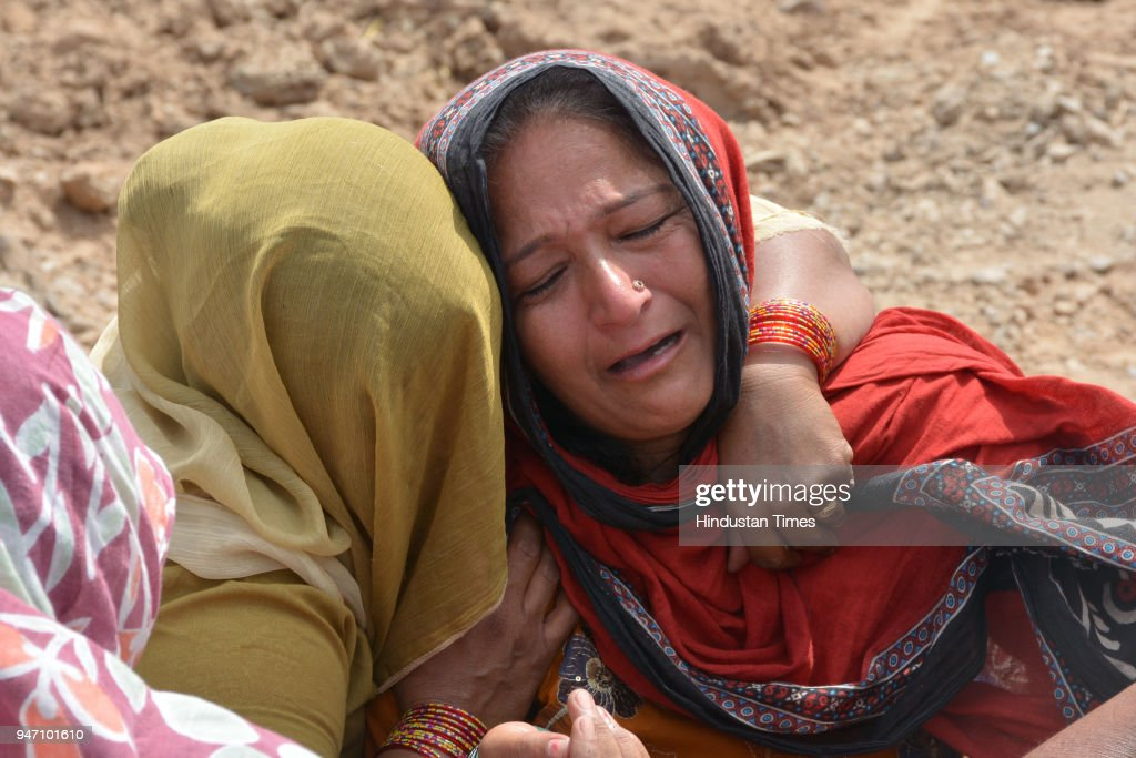 A photo of mother of gangster Bhupesh alias Bhupi Rana who was shot dead by unidentified assailants on Monday morning at Barwala on April 16 2018 in..