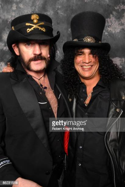 HOLLYWOOD Photo of MOTORHEAD and SLASH and LEMMY Lemmy Slash being inducted into the Rock Walk