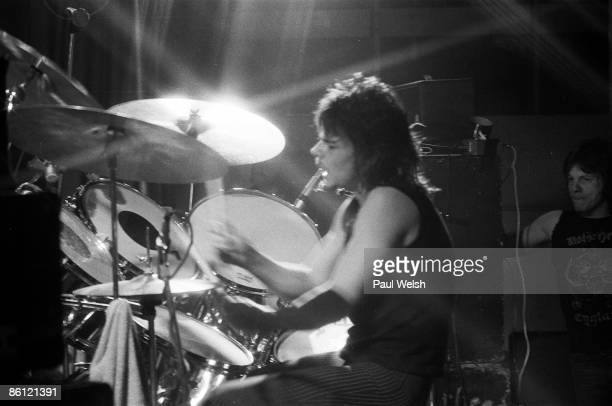 Photo of MOTORHEAD Phil 'Philthy Animal' Taylor performing on stage at the Electric Circus