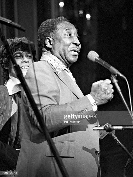 BALLROOM Photo of Muddy WATERS and Robbie ROBERTSON and BAND Muddy Waters with Robbie Robertson performing live onstage at The Band's Last Waltz...