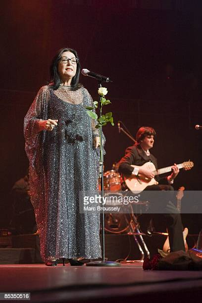 HALL Photo of Nana MOUSKOURI Nana Mouskouri performing live on stage during her farewell tour with rose