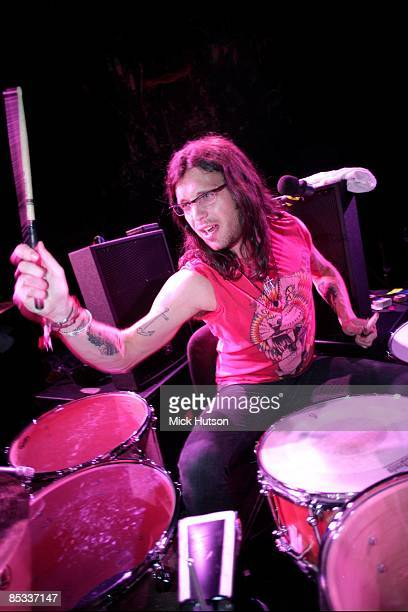 Photo of Nathan FOLLOWILL and KINGS OF LEON Drummer Nathan Followill performing during the soundcheck