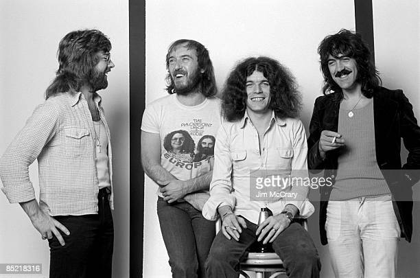 Photo of NAZARETH and Darrell SWEET and Pete AGNEW and Manny CHARLTON and Dan McCAFFERTY Posed studio group portrait LR Darrell Sweet Pete Agnew Dan...