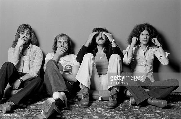 Photo of NAZARETH and Manny CHARLTON and Darrell SWEET and Pete AGNEW and Dan McCAFFERTY Posed studio group portrait LR Darrell Sweet Pete Agnew...