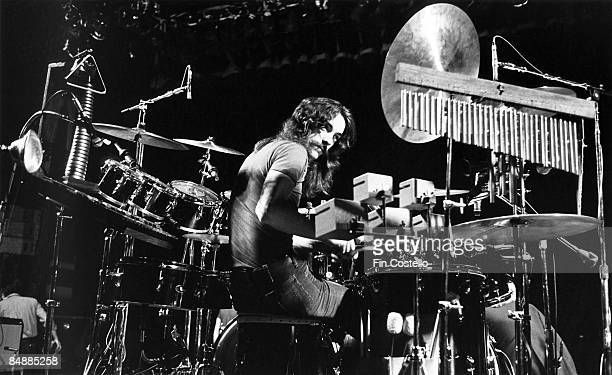 Photo of Neil PEART and RUSH Neil Peart performing live onstage showing percussion equipment and drum kit on A Farewell To Kings tour