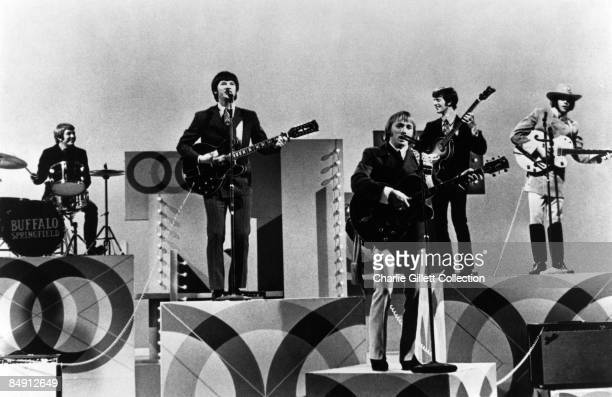 USA Photo of Neil YOUNG and Stephen STILLS and BUFFALO SPRINGFIELD LR Dewey Martin Richie Furay Stephen Stills Jim Fielder Neil Young performing live...