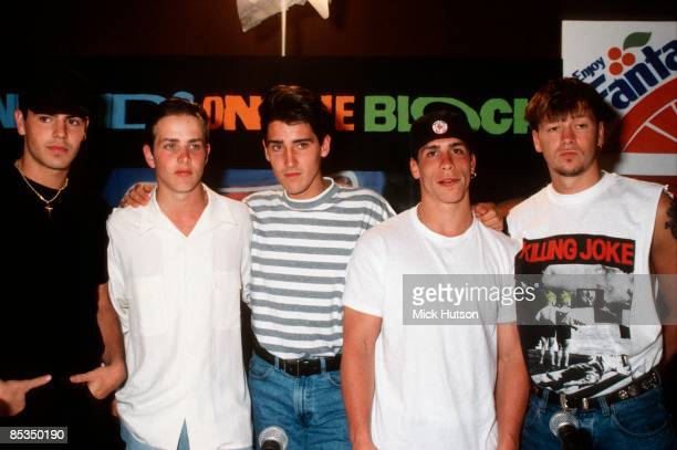 Photo of NEW KIDS ON THE BLOCK and Joey McINTYRE and Donnie WAHLBERG and Jonathan KNIGHT and Jordan KNIGHT and Danny WOOD Posed group portrait LR...