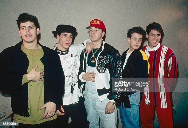 Photo of NEW KIDS ON THE BLOCK and Jordan KNIGHT and Donnie WAHLBERG and Joey McINTYRE and Jonathan KNIGHT Posed group portrait LR Jordan Knight...