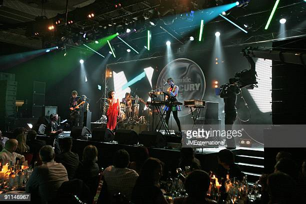 AWARDS Photo of NEW YOUNG PONY CLUB Tahita Bulmer and Lou Hayter performing live on stage at the Mercury Music Awards