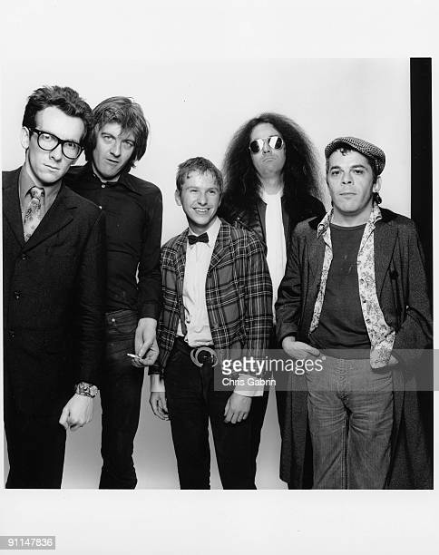 Photo of Nick LOWE and STIFF RECORDS and Ian DURY and Elvis COSTELLO LR Elvis Costello Nick Lowe Larry Wallis Wreckless Eric Ian Dury
