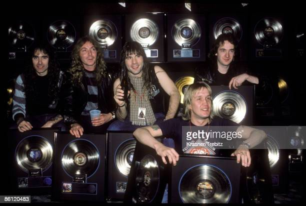 Photo of Nicko McBRAIN and IRON MAIDEN and Bruce DICKINSON and Dave MURRAY LR Steve Harris Dave Murray Bruce Dickinson Nicko McBrain Adrian Smith