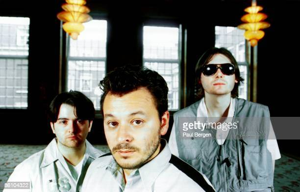 Photo of Nicky WIRE and MANIC STREET PREACHERS and James Dean BRADFIELD and Sean MOORE; L-R: Sean Moore, James Dean Bradfield, Nicky Wire - posed,...