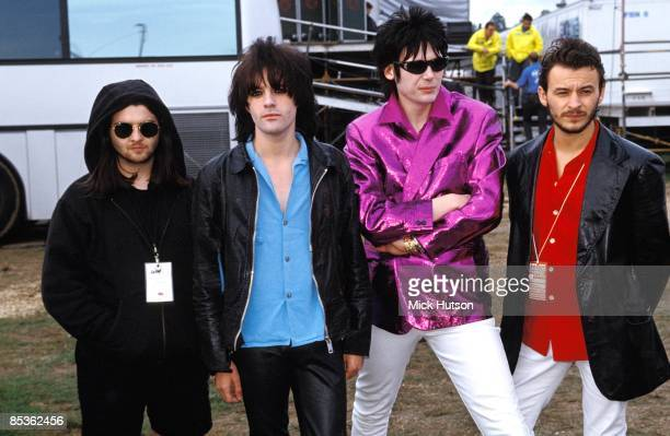FESTIVAL Photo of Nicky WIRE and Richey EDWARDS and MANIC STREET PREACHERS and Sean MOORE and James Dean BRADFIELD LR Sean Moore Richey Edwards Nicky...