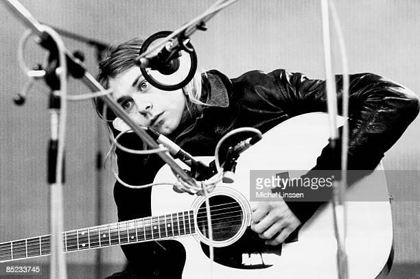 HILVERSUM Photo of NIRVANA and Kurt COBAIN Kurt Cobain recording in Hilversum Studios with acoustic guitar