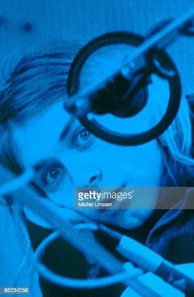HILVERSUM Photo of NIRVANA Kurt Cobain posed looking to camera recording in Hilversum Studios