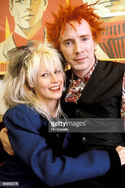 Photo of Nora FORSTER and John LYDON and Johnny ROTTEN posed with his wife Nora Forster