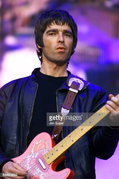 Photo of OASIS; Noel Gallagher performing live onstage at Reebok Stadium