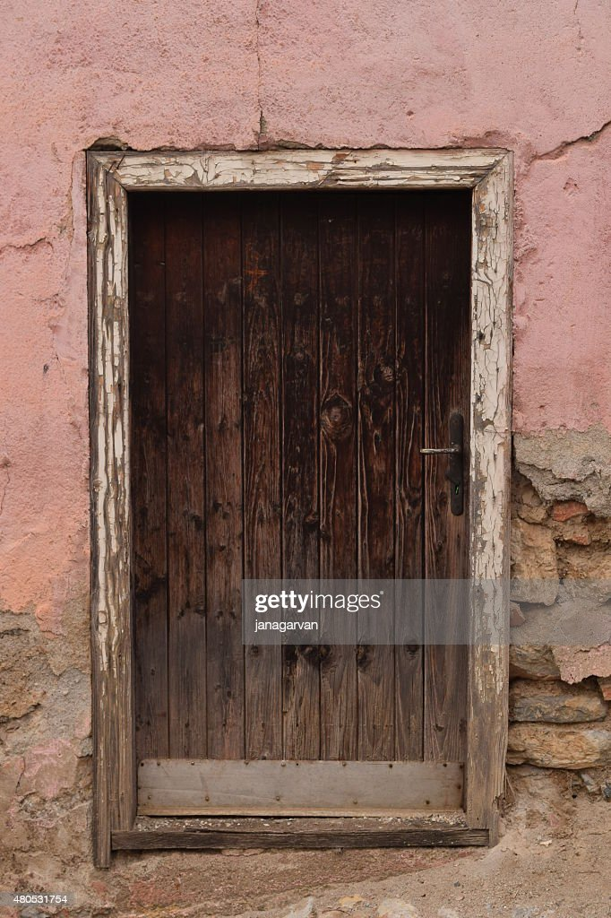 Photo of old wooden door in Ohrid city : Stockfoto
