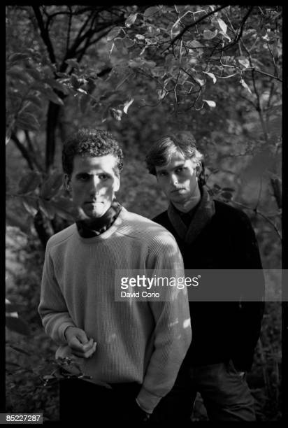 Photo of OMD Orchestral Manouvres In The Dark lr Andy McCluskey Paul Humphreys on Primrose Hill London 21 October 1981
