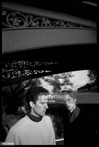 Photo of OMD Orchestral Manouvres In The Dark lr Andy McCluskey Paul Humphreys at Little Venice London 21 October 1981