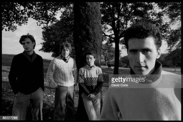 Photo of OMD Orchestral Manouvres In The Dark lr Paul Humphreys Malcolm HolmesMartin Cooper Andy McCluskey on Primrose Hill London 21 October 1981