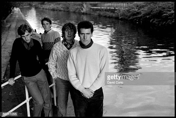 Photo of OMD Orchestral Manouvres In The Dark lr Paul Humphreys Martin Cooper malcolm Homes Andy McCluskey at Little Venice London 21 October 1981