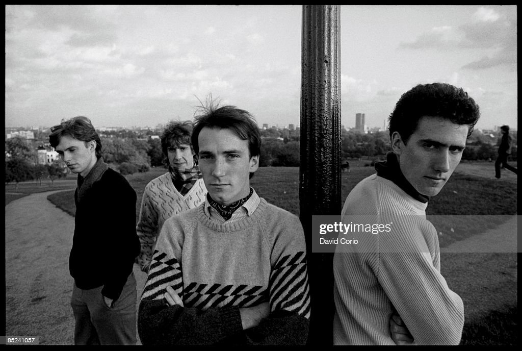Photo of OMD; Orchestral Manouvres In The Dark l-r Paul Humphreys, malcolm Holmes,Martin Cooper, Andy McCluskey on Primrose Hill, London 21 October 1981