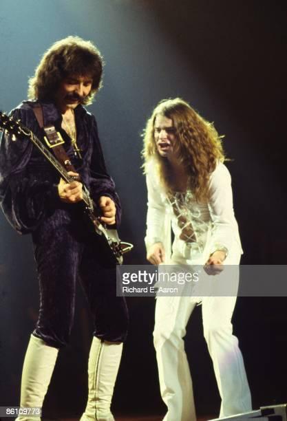 Photo of Ozzy OSBOURNE and Tony IOMMI and BLACK SABBATH LR Tony Iommi Ozzy Osbourne performing live onstage full length