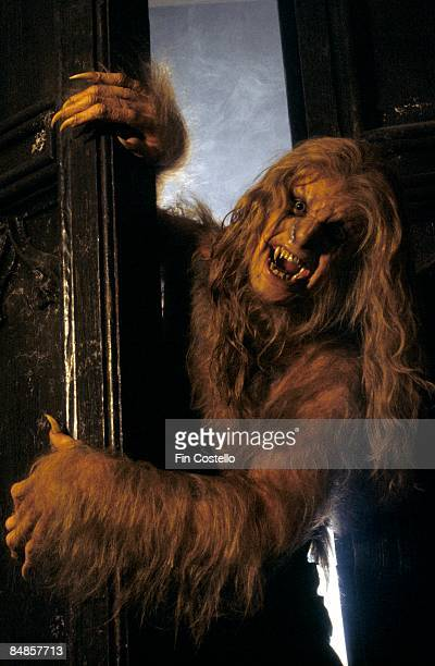 Photo of Ozzy OSBOURNE posed studio dressed as werewolf 'Bark At The Moon' album cover shoot