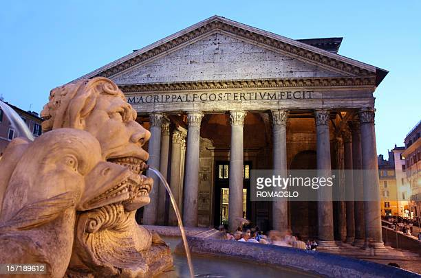 a photo of pantheon in rome, italy, in the early evening - pantheon rome stock photos and pictures