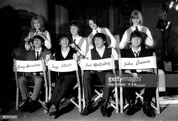 Photo of Patti BOYD and BEATLES George Harrison Ringo Starr Paul McCartney John Lennon posed group shot on the set of A Hard Day's Night