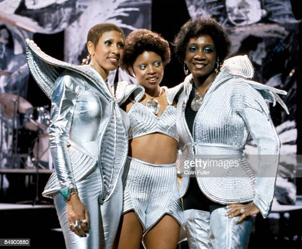 CENTRE Photo of Patti LABELLE and LABELLE and Nona HENDRYX and Sarah DASH LR Nona Hendryx Sarah Dash Patti Labelle performing on BBC 'In Concert' TV...