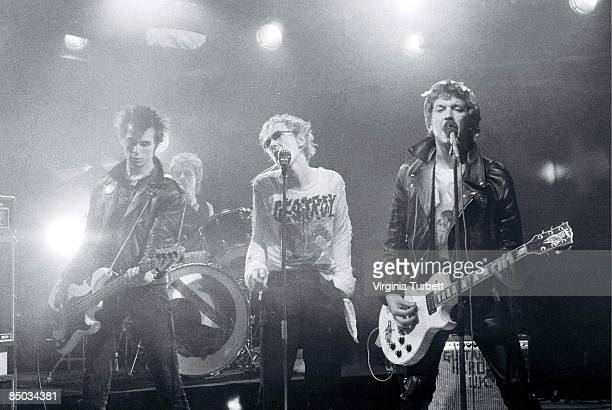 Photo of Paul COOK and SEX PISTOLS and Johnny ROTTEN and Sid VICIOUS LR Sid Vicious Paul Cook Johnny Rotten Steve Jones performing on set of 'Pretty...