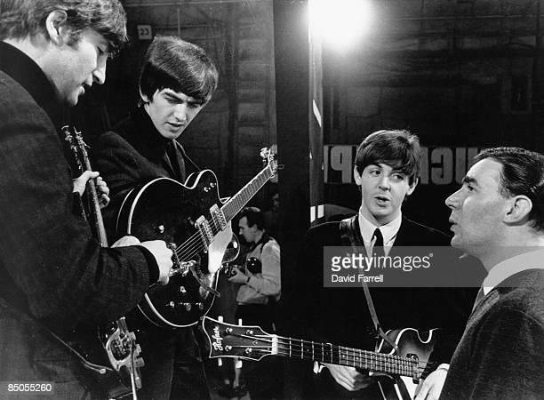 STARS Photo of Paul McCARTNEY and BEATLES and John LENNON and George HARRISON John Lennon George Harrison Paul McCartney posed on set with with show...