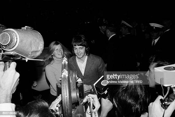 Photo of Paul McCARTNEY and BEATLES and Linda McCARTNEY Paul and Linda McCartney at the opening of 'Midnight Cowboy