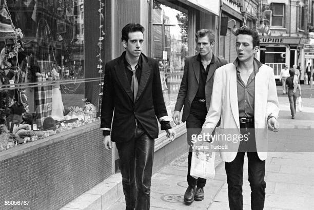 Photo of Paul SIMONON and CLASH and Mick JONES and Joe STRUMMER LR Mick Jones Paul Simonon Joe Strummer in Leicester Square