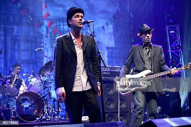 ROUNDHOUSE Photo of Paul SIMONON and Damon ALBARN and Tony ALLEN and THE GOOD THE BAD AND THE QUEEN LR Tony Allen Damon Albarn Paul Simonon