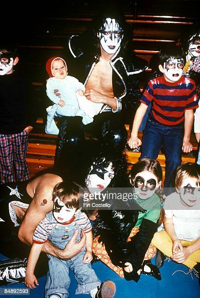 Photo of Paul STANLEY and Ace FREHLEY and KISS Ace Frehley and Paul Stanley with members of The Bronx Choir at the Record Plant NY