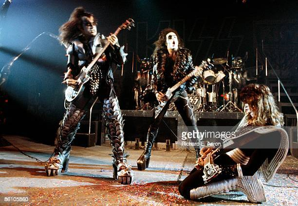 Photo of Paul STANLEY and KISS and Gene SIMMONS and Ace FREHLEY Gene Simmons Paul Stanley and Ace Frehley performing live onstage
