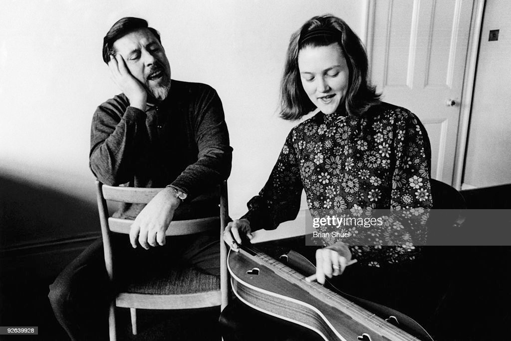 Photo of Peggy SEEGER and Ewan MacCOLL; with Peggy Seeger at home in Beckenham