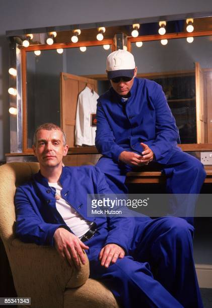 Photo of PET SHOP BOYS and Chris LOWE and Neil TENNANT LR Neil Tennant and Chris Lowe posed backstage in dressing room