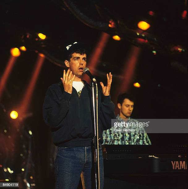 FESTIVAL Photo of PET SHOP BOYS and Neil TENNANT and Chris LOWE Neil Tennant and Chris Lowe performing on stage