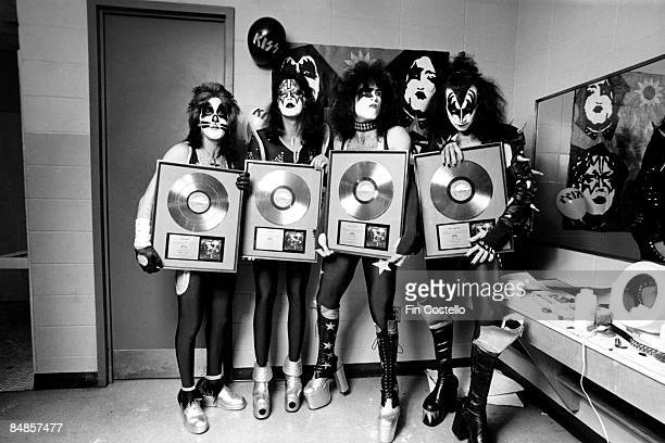 COLISEUM Photo of Peter CRISS and Ace FREHLEY and Gene SIMMONS and KISS and Paul STANLEY LR Peter Criss Ace Frehley Paul Stanley Gene Simmons posed...