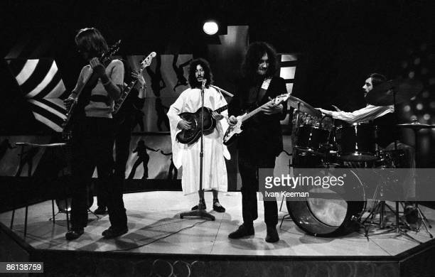 CENTRE Photo of Peter GREEN and FLEETWOOD MAC LR Danny Kirwan Peter Green Jeremy Spencer Mick Fleetwood performing on TV Show