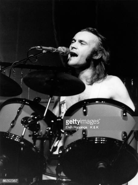 Photo of Phil COLLINS and GENESIS Phil Collins performing live onstage singing and playing drums